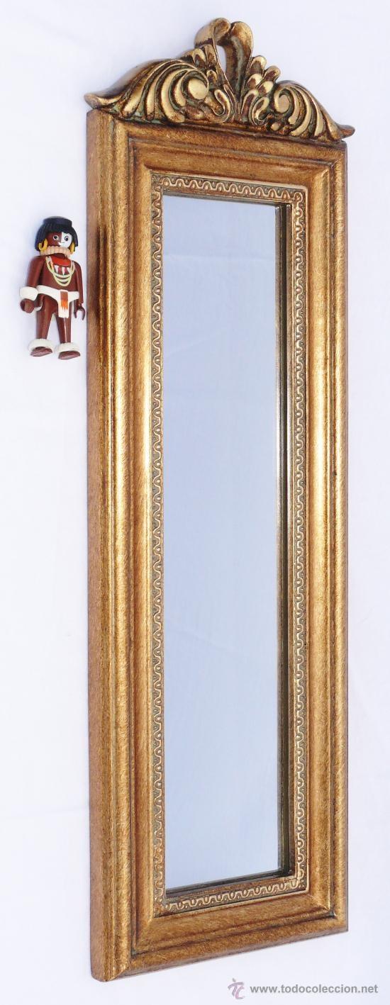 Espejo dorado vintage retro en madera dorada vintage for Espejos decorativos dorados