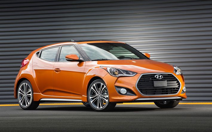 Download wallpapers Hyundai Veloster Turbo, 4k, 2017 cars, orange Veloster, korean cars, Hyundai