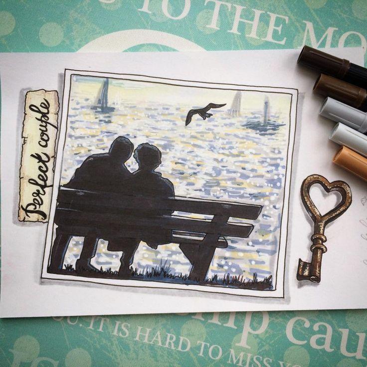"""Идеальная пара для меня это не только бразильские страсти и кофе в постель, это ещё и """"жили долго и счастливо и умерли в один день"""". Наверное так сидят сейчас мои мама и папа где-то на берегу своего тёплого моря. И, надеюсь, я буду также сидеть через много лет со своим любимым старикашкой😂❤️🌊 #alexandradikaia_ldc #спиртовыемаркеры #perfectcouple #love #любовь #море #art #sketching #sketch #sea"""