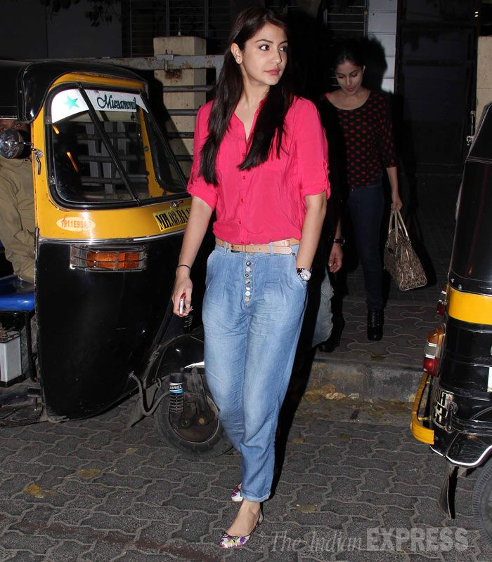 Anushka Sharma was casual in a bright coloured top with baggy jeans. #Style #Bollywood #Fashion #Beauty