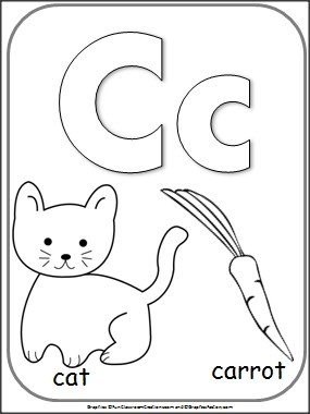 Letter C Alphabet Card For Coloring