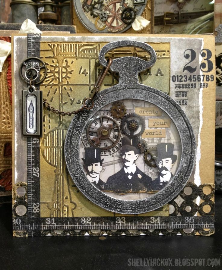 Heritage Album Cover Inspiration! ~ Mini Tutorial for this Tim Holtz vintage Steampunk look with complete list of products used with links!