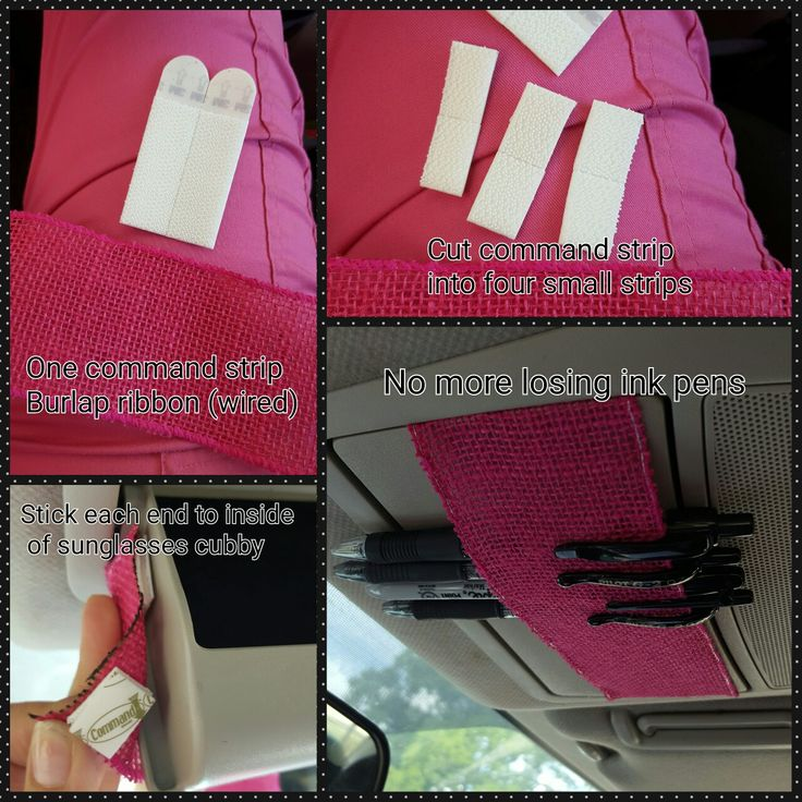 Quick DIY pen holder for car. Keep pens tucked out of the way with ribbon and command strips. Great when you work from your car. Home health nurse organization tips.