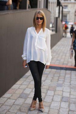 White shirt. Love, so me: Fashion, Clothes, Black And White, White Shirts, Street Style, Outfit, White Blouses, Hair, White Top