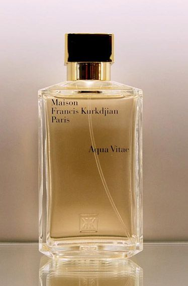 """Aqua Vitae is latin for """"water of life"""" and it signifies what came to Francis Kurkdjian's mind one afternoon as he was in Formentera in the Balearic islands. The scent has the citrus top notes that, of course, denote warmer temperatures, but it is the underlying guaiac wood and Brazilian tonka that give this scent an alter ego. Fresh and woody at the same time.  Aqua Vitae ($245) by Maison Francis Kurkdjian, osswaldnyc.com"""