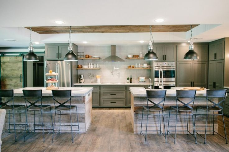 Double Islands for entertaining   Masculine kitchen   Bachelor pad   Fixer Upper