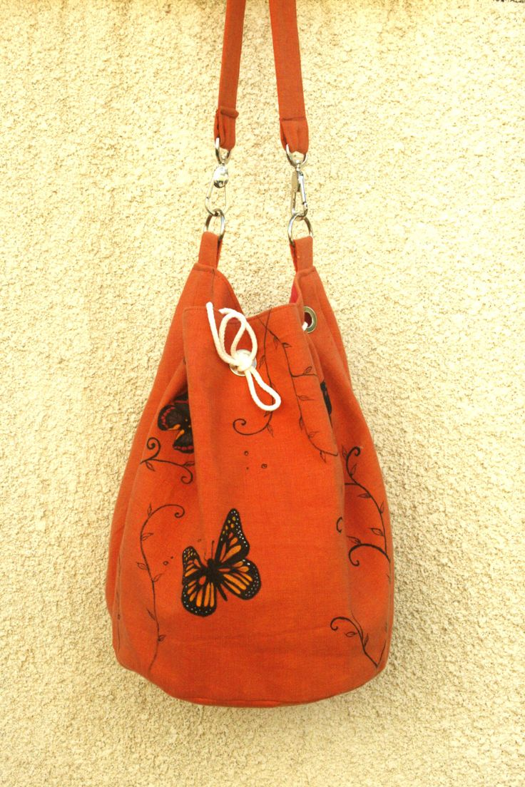 Summer vegan cotton orange hand painted shoulder bag by AtelierGOBI on Etsy