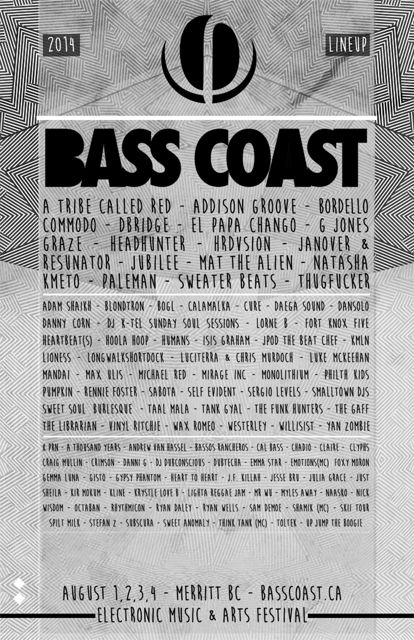 this years basscoast full line up!!  always a really good weekend