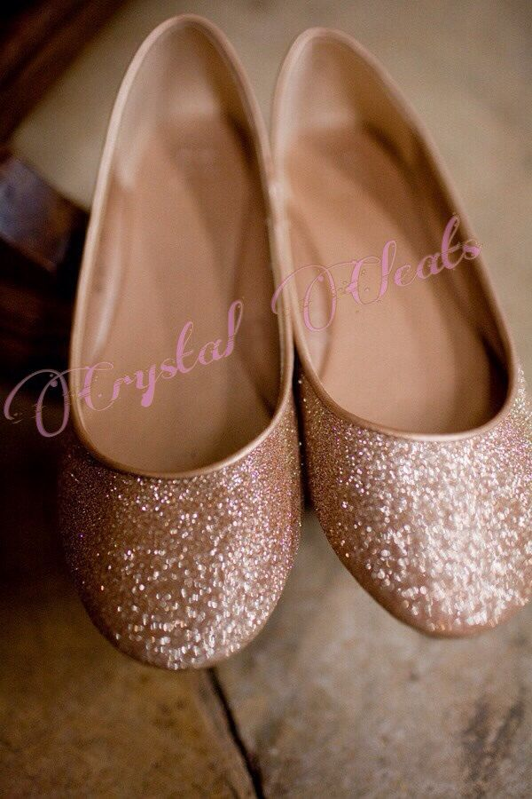 sparkly Rose Gold pink  GLITTER handmade ballet ballerina flats shoes wedding bride colors by CrystalCleatss on Etsy