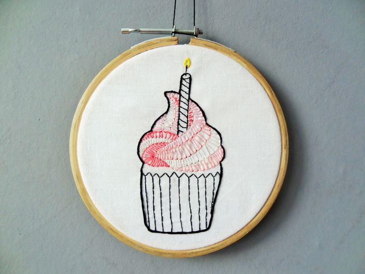 Strawberry Cupcake Embroidery hoop art