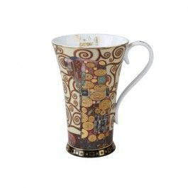 """Goebel - Artis Orbis - Gustav Klimt - Fulfilment - Artist mug - Porcelain Artist mug with gold-plated décor showing """"Fulfilment"""" by Gustav Klimt. Dishwasher safe but recommended to wash by hand with a mild cleanser to preserve the brilliant colours and gold decor.. Height: 15 cm. Diameter: 13.5 cm. Content: 0.5 l."""