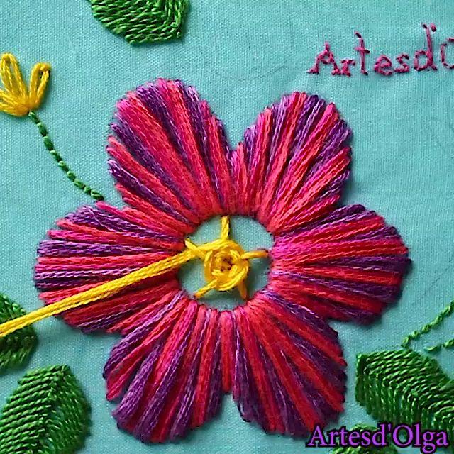 Cómo Bordar Flor Multicolor