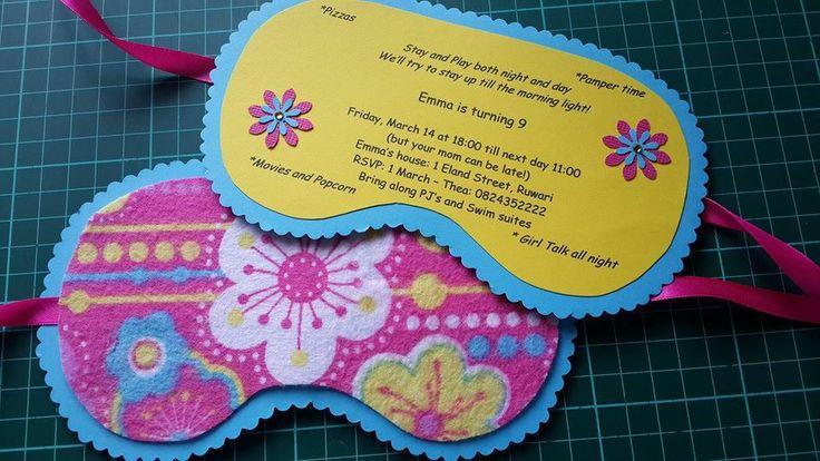Sleep Mask Invitation - Oorslaap Partytjie Masker Order: Facebook- Alice's Creations1
