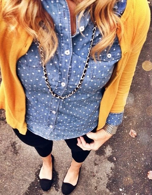 An idea for my new too: polka dot chambray shirt, black skinny denim & mustard yellow cardigan