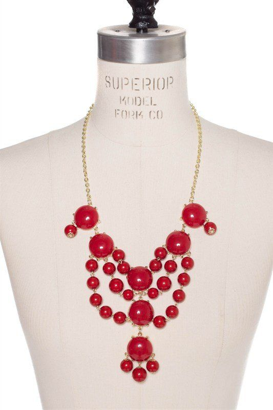 Deck the Halls Necklace – Penelope Sage - Chandelier style red bubble necklace that is perfect for the Christmas holidays! Lead free.