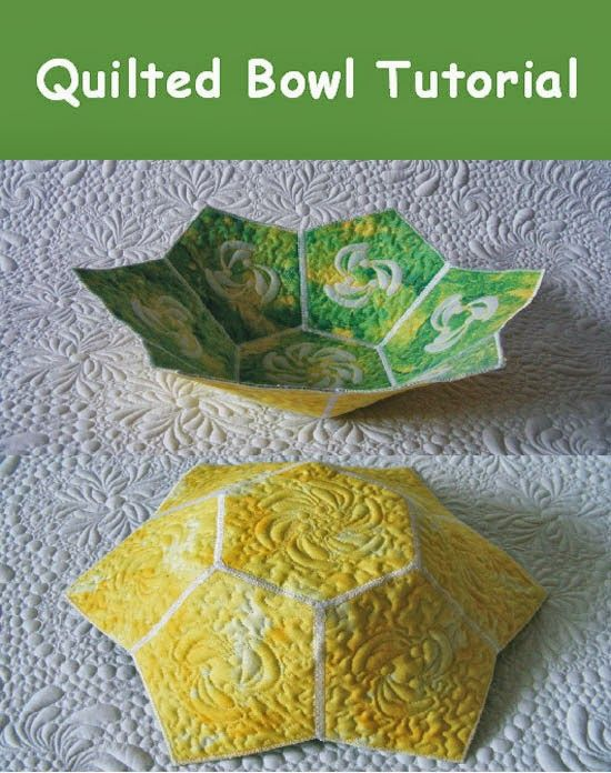 quilted bowl tutorial. can you make tall quilted vases for the cat balcony? that way if the cats knock them over they won't break
