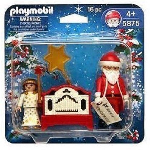 PLAYMOBIL 5875 PLAYSET XMAS HOLIDAY SANTA CLAUS ANGEL FIGURE MUSIC PLAYING ORGAN #PLAYMOBIL