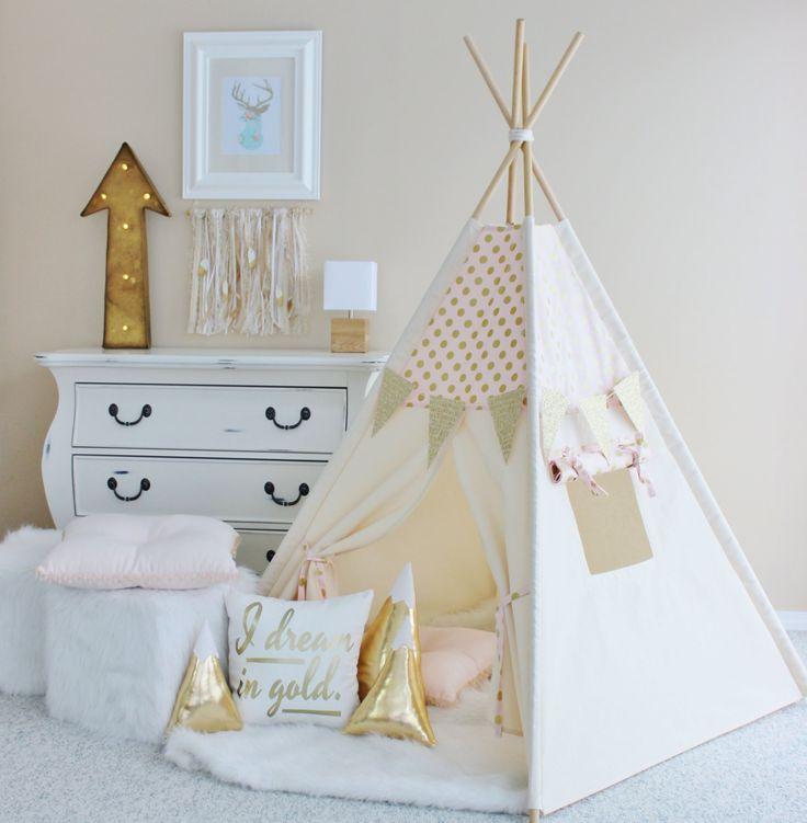 PINK with Gold Glamour Polka Dot Canvas Teepee Play Tent Play House Nursery Teepee Tent Kids Teepee Wigwam Indoor (175.00 CAD) by AshleyGabby