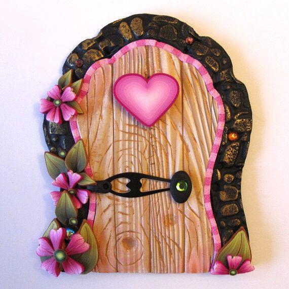 sandylandya@outlook.es Pink Heart Fairy Door Pixie Portal by Claybykim on Etsy, $20.00