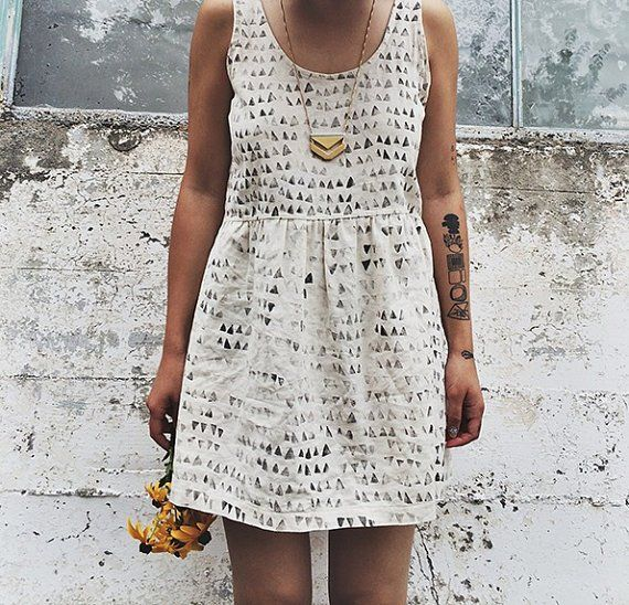 Hand-made white linen dress with an original hand-stamped geometric print from localparitygoods