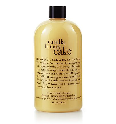 When taking your bath or shower, avoiding soap and aiming at hard working gels is your best bet. Vanilla Birthday Cake Shampoo, Shower Gel & Bubble Bath by Philosophy is an even better bet when washin