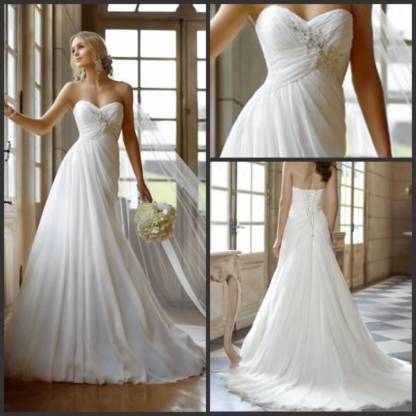 Online Shopping 2013 Elegant Beach Wedding Dresses A-line Sweetheart Appliqued Beading Long Chiffon Ruffles Bridal Attire Gowns Online Stores 109.48 | m.dhgate.com