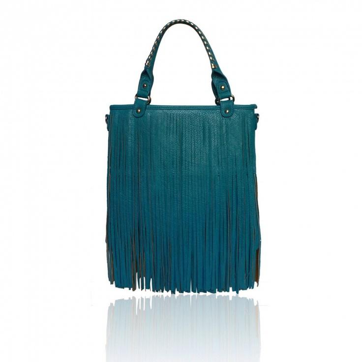 Tyrkysová kabela s county třasněmi od London Fashion, sledujte pravidelně naší nabídku.