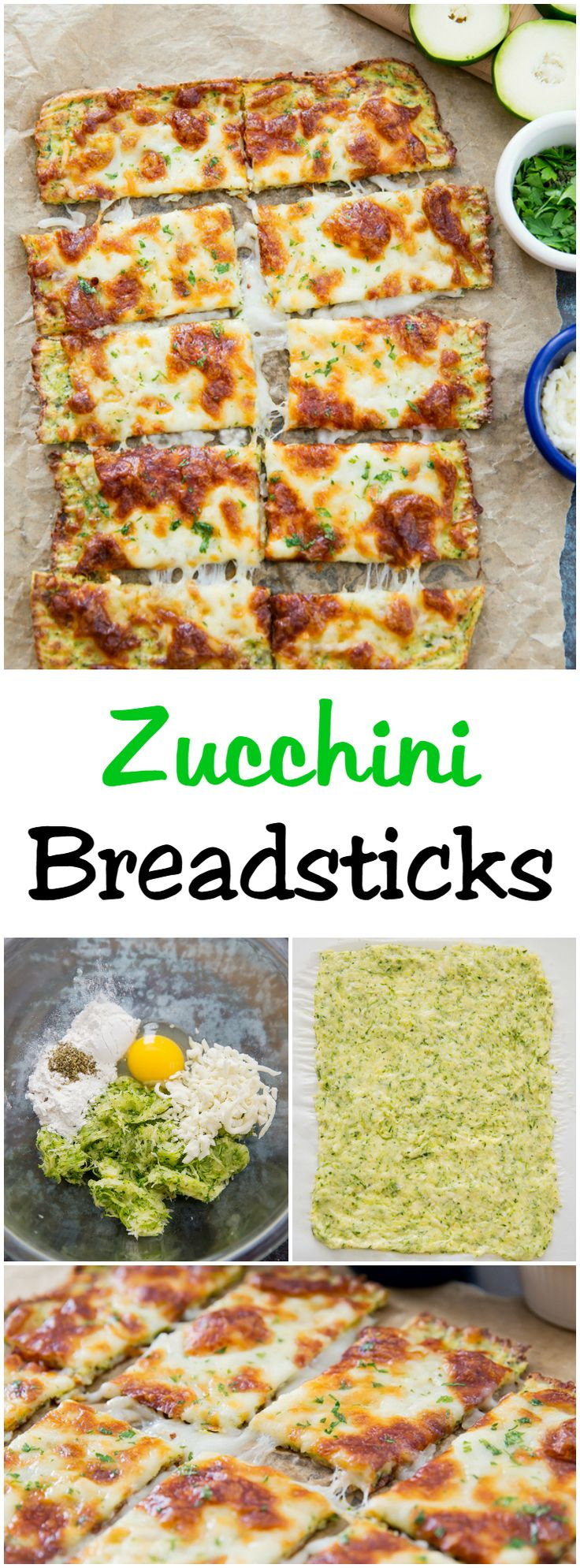 Zucchini Breadsticks. Zucchini crust bread topped with cheese. Delicious low carb alternative to regular breadsticks.