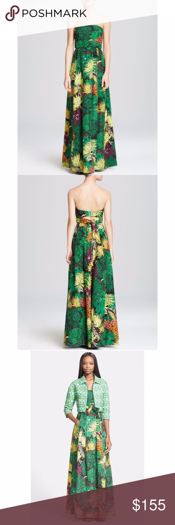 "NEW Tracy Reese Cactus Flower Print Strapless Gown A lavish desert print displays a multitude of cactus flowers across the flowing silhouette of this strapless floor-length gown. Built-in boning and a seamed waist create a flattering fit, further defined by a crisscrossing bow that ties in back. Hidden front pockets and a cutout back complete the youthful design. 53"" center front length (size 8). Back zip and hook-and-eye closure. On-seam pockets. Fully lined, with built-in boning in bodice…"
