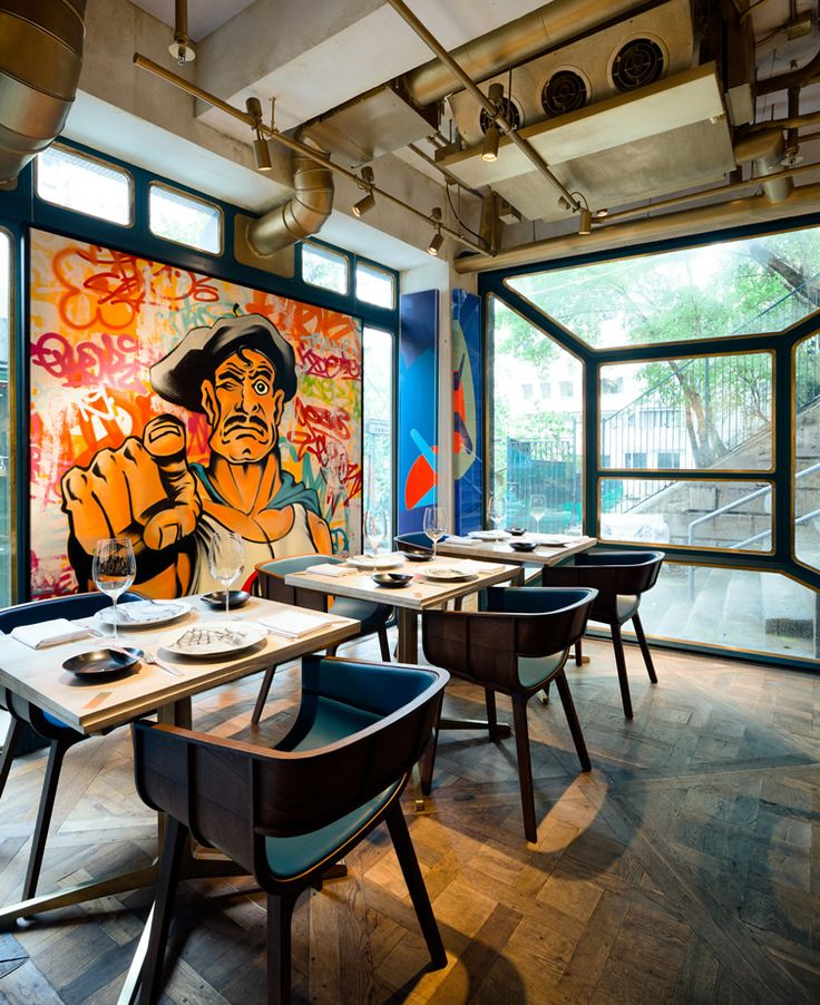 Stellar street art complementing French cuisine in Hong Kong, this will blow your mind... http://www.we-heart.com/2014/07/23/bibo-hong-kong/