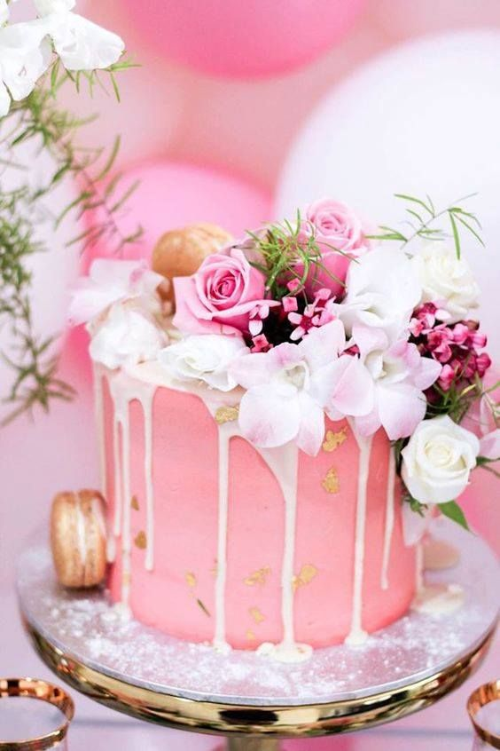 Pink drip icing single tier wedding cake, simply lovely!