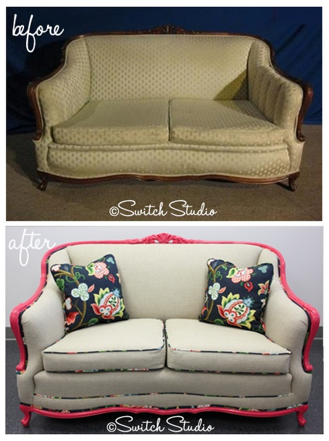 Leather Sofa Reupholstery Before u After Sofa Makeover painted pillows floral fabric linen
