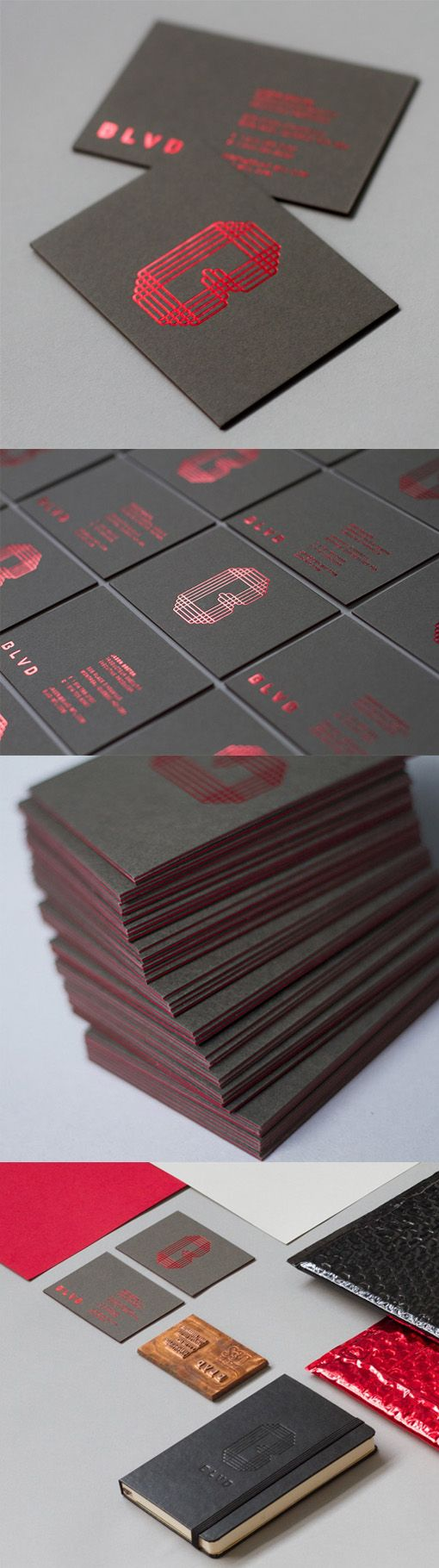Black And Red Foil Embossed Minimalist Business Card For A Film Production Studio