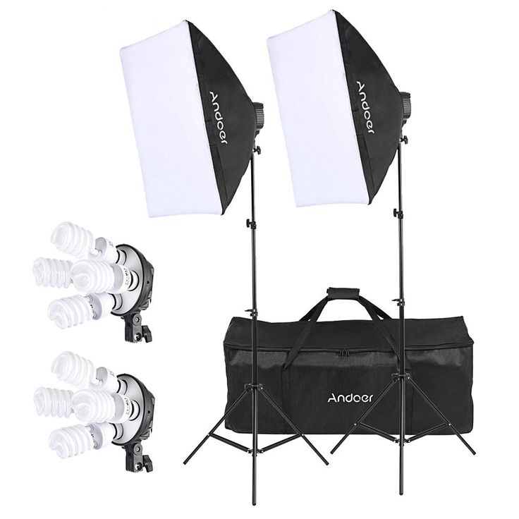 Andoer Studio Photo Lighting Kit with 2 * Softbox / 2 * 4in1 Bulb Socket / 8 * 45W Bulb / 2 * Light Stand / 1 * Carrying Bag //Price: $68.43//     #onlineshop