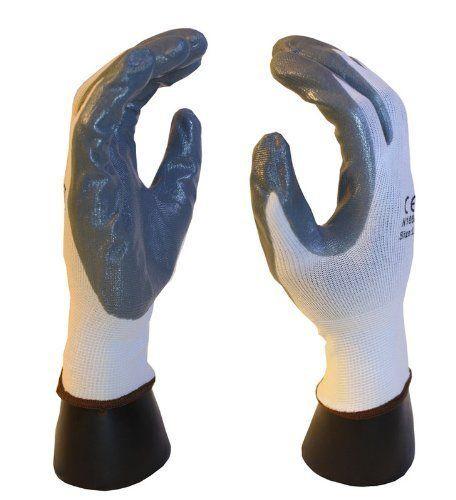 120 pairs, Polyurethane Coated Work Gloves- White 13 Gauge Nylon, White Polyurethane Palm Work / Safety Glove Palm (Large) by AZUSA SAFETY