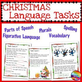 Grade / Year Level :: Primary Education :: Foundation - Year 2 :: CHRISTMAS LANGUAGE ARTS SKILLS Task Cards including Activities on Plurals Nouns Punctuate