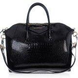 Cheap Fashion Givenchy Crocodile Veins Patent Leather Antigona Duffel Bag - Black Replica
