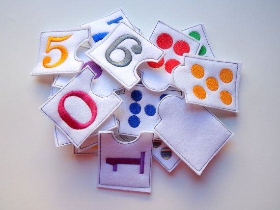 Making learning fun. This listing is for a set of felt matching numbers. The pieces are approx. 2in by 3in. This includes numbers 0-9. These could be