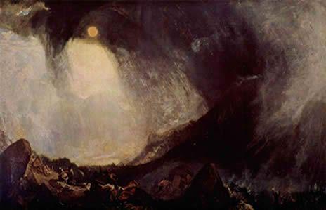 """Joseph Mallord William Turner: """"Tormenta de nieve: Aníbal y su ejército cruzando los Alpes"""""""