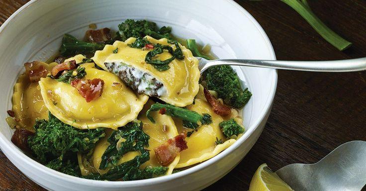 ... Ravioli with Broccoli Rabe, Pancetta, Chili Flakes and Lemon Recipe