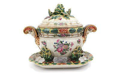 Beautiful Vintage Style Green Chinoiserie Floral Porcelain Tureen w Tray