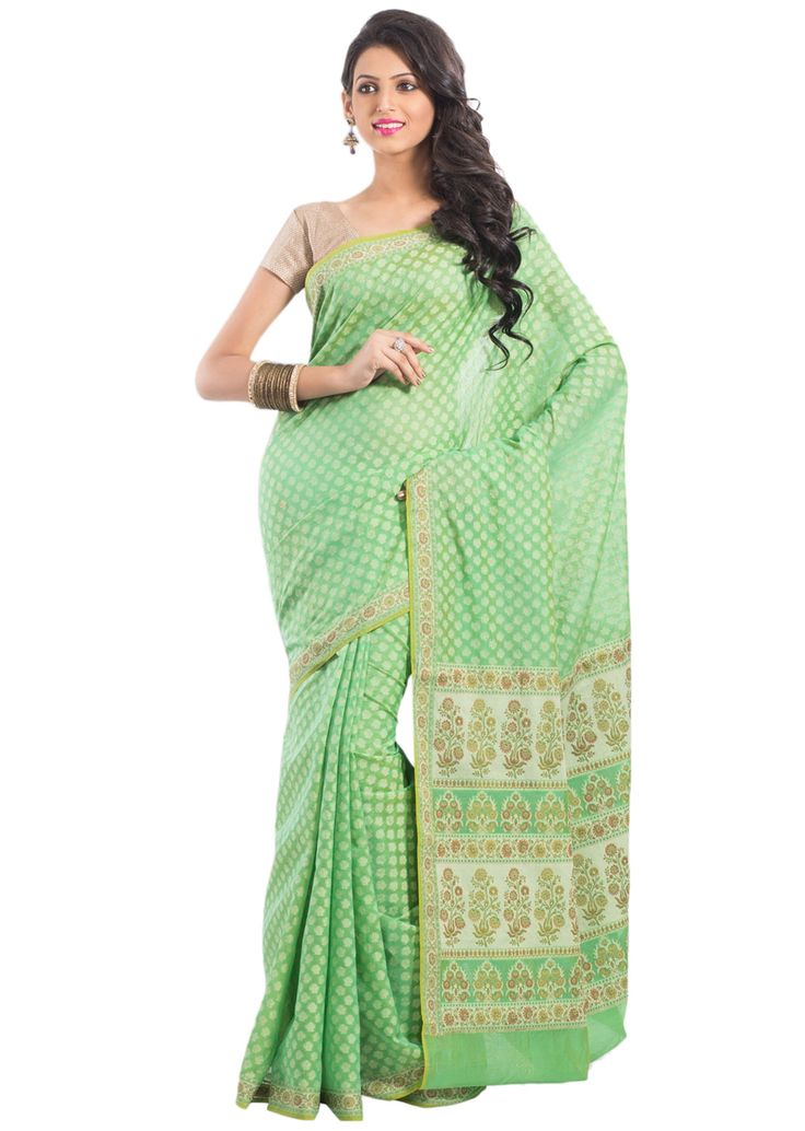 Green banarasi cotton saree with weave