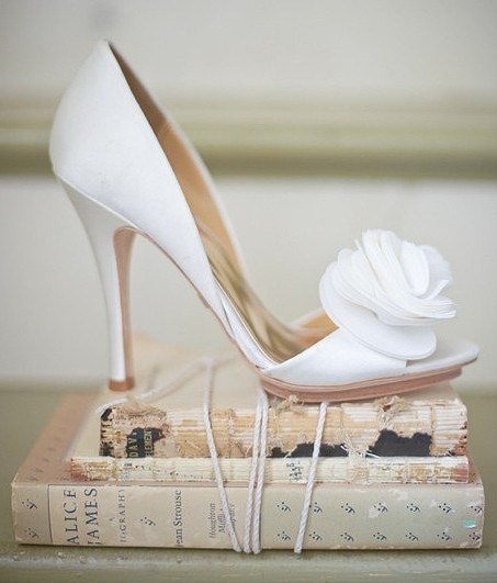 White satin wedding shoes - ivory - peep toes - vintage style - bridal shoes - flower