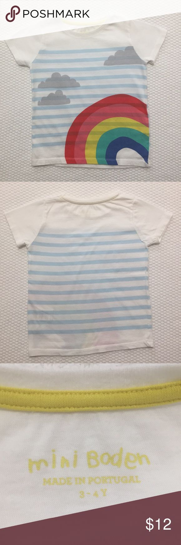 Mini Boden rainbow t shirt top size 3 4 🌈 Super cute and soft! 🌈 Striped t shirt from Mini Biden w pretty rainbow graphic. Very tiny spots on right shoulder see last photo.  ✨♻️✨ I offer a bundle discount and my Mommy said she is open to reasonable offers made through the MAKE OFFER button. 💞 Mini Boden Shirts & Tops Tees - Short Sleeve