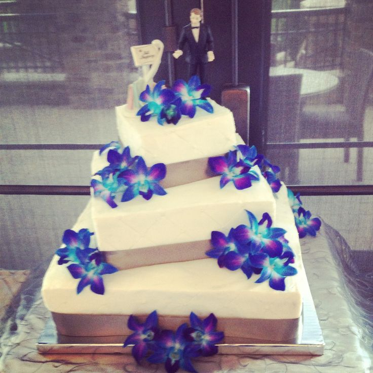 3 tier 6 layer wedding cake with blue orchids by Anna