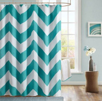 black white chevron shower curtain. The Mi Zone Libra shower curtain gives you an updated modern look  overscaled design features a herringbone print with teal and solid white chevron 24 best Black White Shower Curtains images on Pinterest