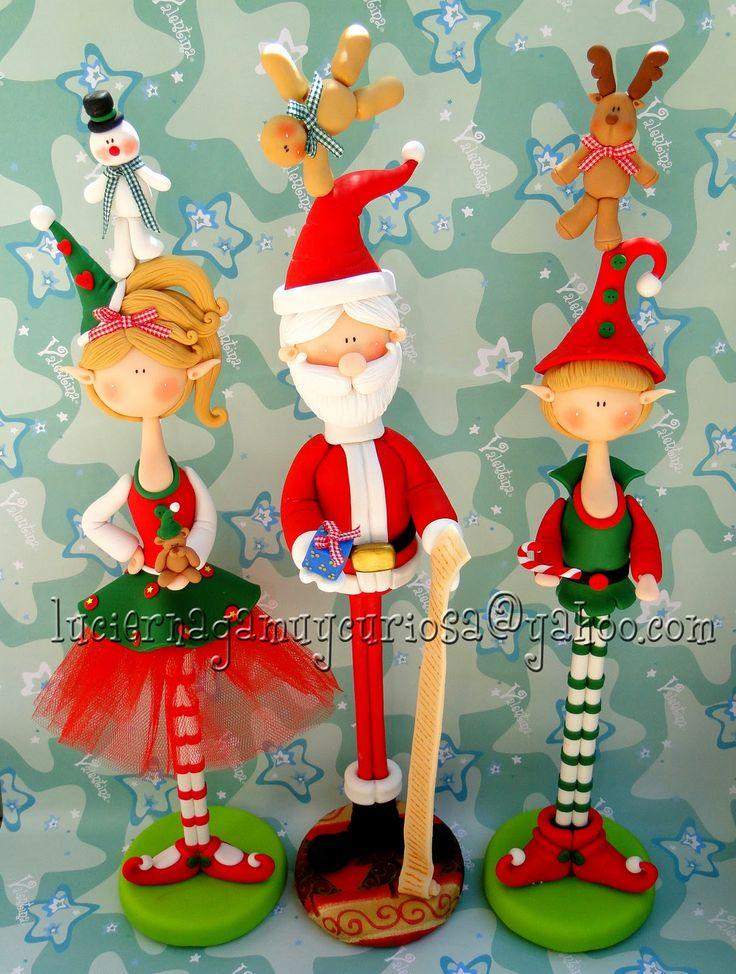 Navidad en largo polymer clay porcalena fria pasta francesa masa flexible modelado modelling figurine topper fondante fimo