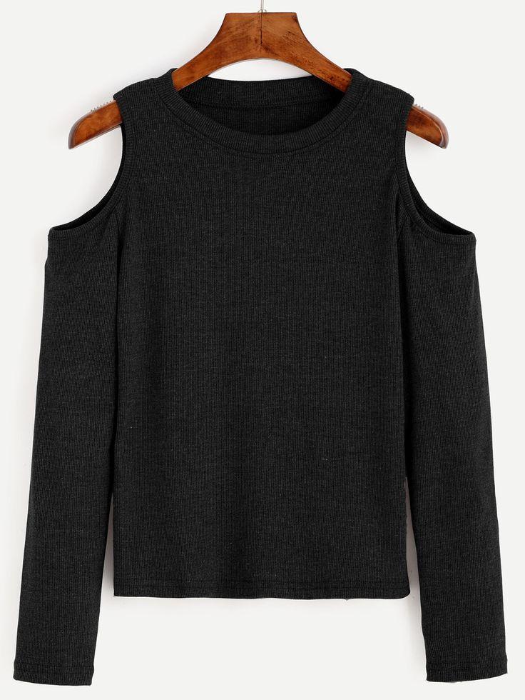 Shop Black Open Shoulder Knit T-shirt online. SheIn offers Black Open Shoulder Knit T-shirt & more to fit your fashionable needs.