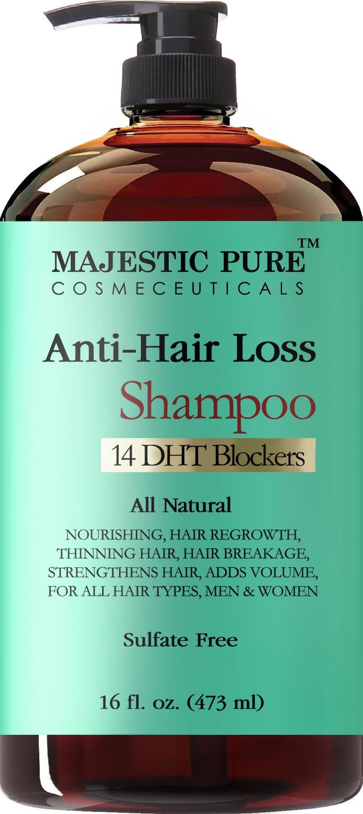 Hair Loss and Hair Regrowth Shampoo for Men & Women From Majestic Pure Offers Potent Natural Ingredient Based Product, Add Volume and Strengthen Hair, Sulfate Free, 14 DHT Blockers,16 fl oz