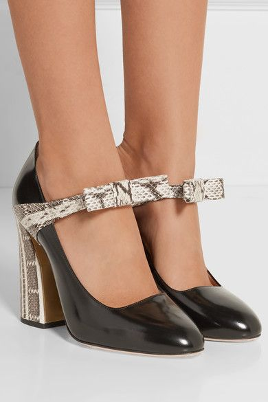 Heel measures approximately 110mm/ 4.5 inches Black glossed-leather, black and white elaphe Slip on Elaphe: Indonesia Made in Italy
